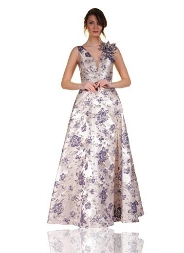 Çiçekli Uzun Abiye Elbise-Pierre Cardin